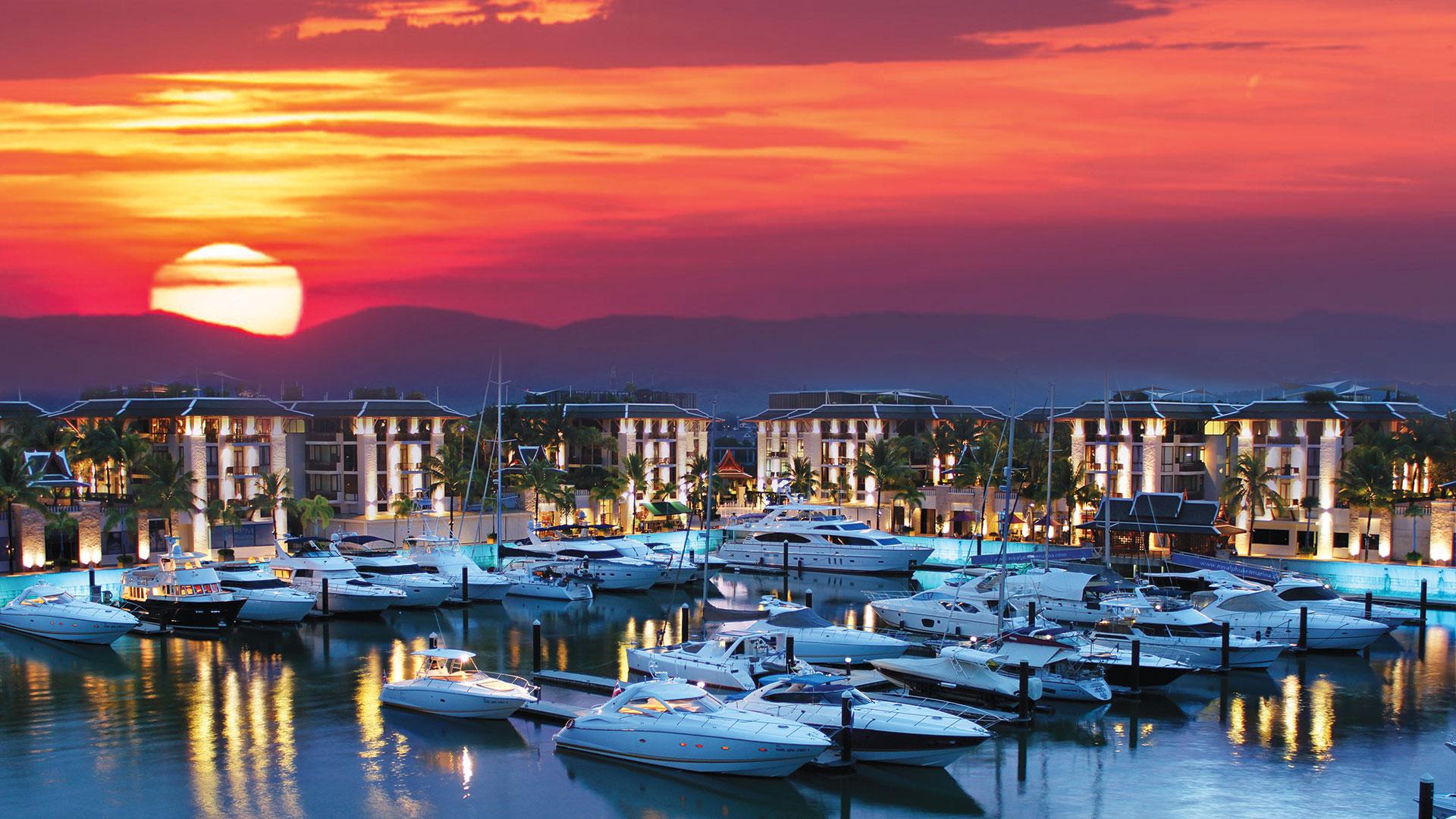 The royal Phuket marina at sunset
