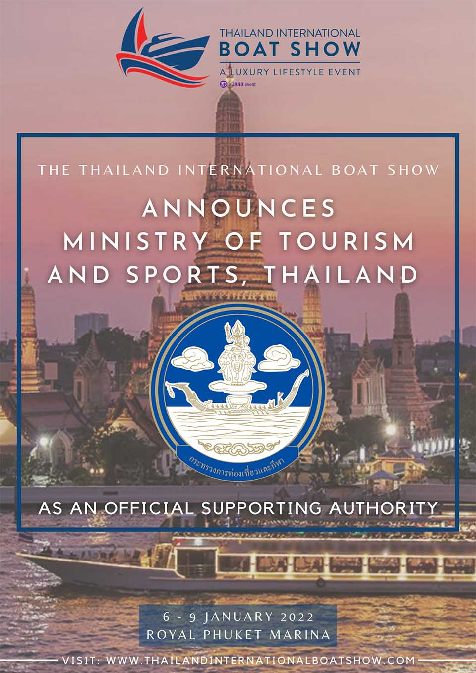 Ministry of Tourism & Sports Thailand announced as official supporting authority for The Thailand International Boat Show